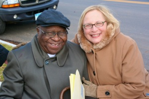 Alton Brooks with State Senator Terry Gerratana at the dedication of Alton Brooks Way in New Britain.