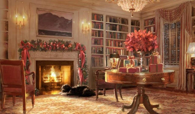"Holiday card from the Obama White House (2011) with ""Bo"" Obama at the fireplace"