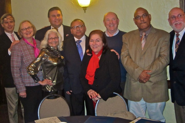 Legislators and officials congratulations DTC award recipients on Jan. 22nd. From left State Rep. Peter Tercyak, State Senator Terry Gerratana, Rep. Bobby Sanchez, Isabelita Cancel, Willie Justiniano, Vicky Ramos, Registrar Juan Verdu, Marion Santos and Francisco Cuin.