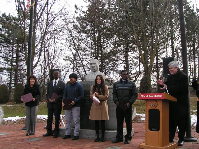 Commemoration participants and Mayor O'Brien at Martin Luther King park