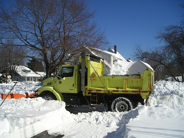 DPW Plow Truck at Brighton Street and Roxbury Road