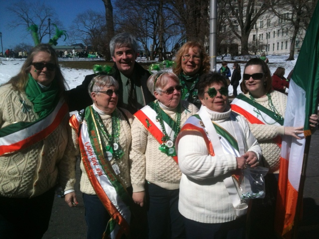 Mayor O'Brien and Council Majority Leader Suzanne Bielinski with NB Irish Social Club members at start of parade.