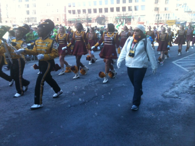 New Britain High School Marching Band on Asylum Street at Saint Patrick's Day Parade.