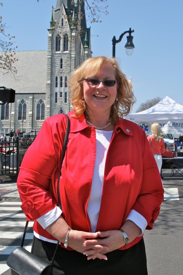 Common Council Majority Leader Suzanne Bielinski. In background is Sacred Heart Church,