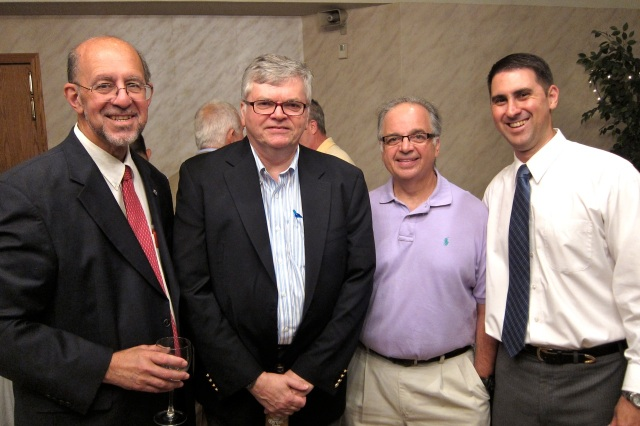 Alderman At Large David DeFronzo's DeFronzo 2013 Committee held a fundraising reception on June 27th at Angelico's Restaurant. On hand from left DAS Commissioner and former Mayor/State Senator Don DeFronzo, Democratic Chair John McNamara, former Schools Supt. Ron Jakubowski and David DeFronzo. (FJG photo)