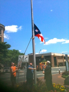 State Rep. Bobby Sanchez and Mayor Tim O'Brien at Flag Raising on Friday, July 5th.
