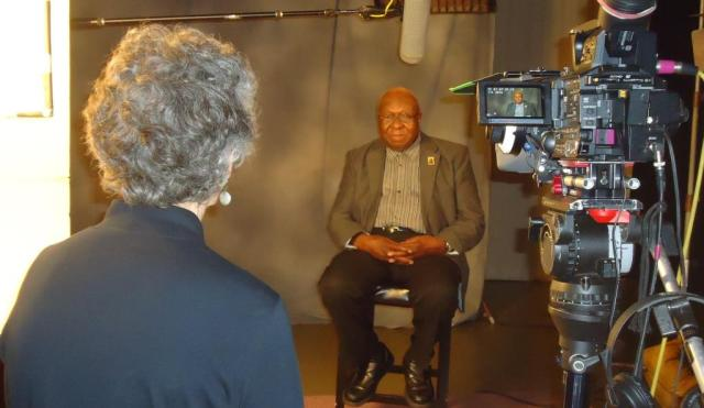 New Britain's Alton Brooks was interviewed for Comcast's documentary on the March on Washington for Jobs and Freedom.  Back to photo is Video Production Manager Liz Kennard. (Photo courtesy COMCAST)