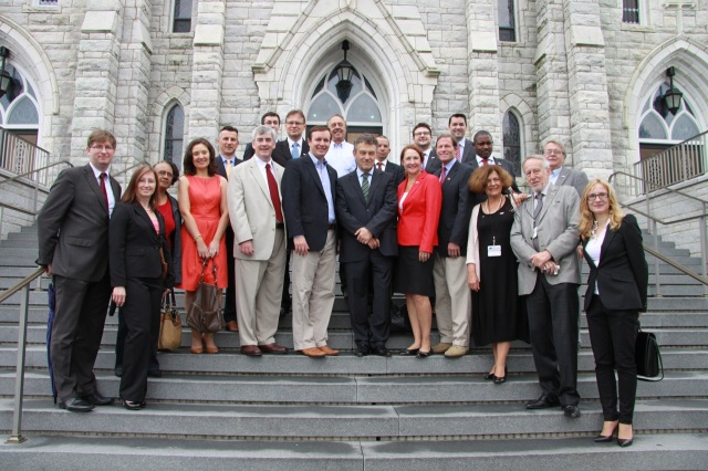 , the Poland's Ambassador to the U.S, toured shops and restaurants on Broad Street on August 3rd. was accompanied by Senators Chris Murphy and Richard Blumenthal, Cong. Elizabeth Esty, Mayor Tim O'Brien, State Senator Terry Gerratana and other elected officials and community leaders.  The walking tour paused on the steps of Sacred Heart Church for a photo.