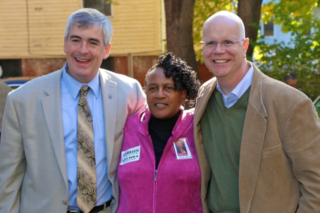 Mayor O'Brien, Ward 2 Alderwoman Shirley Black and State Comptroller Kevin Lembo at New Britain Democrats' rally.