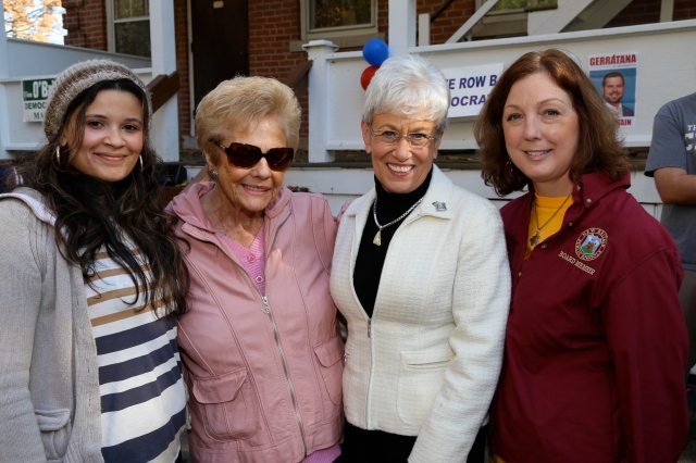 Lt. Gov. Wyman with Board of Education Democrats Daisy Sanchez, Judy Greco and Sharon Beloin-Saavedra
