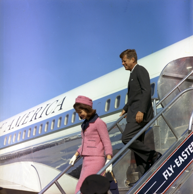 November 1963 President and Mrs. Kennedy descend the stairs from Air Force One at Love Field in Dallas, TX, 22 November 1963.  (Cecil Stoughton/John F. Kennedy Presidential Library and Museum, Boston.)