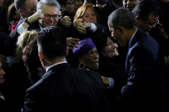 Emma Pierce (center) DTC member and State Party Treasurer, greets President Obama at CCSU March 5th (Photo from Hartford Courant)