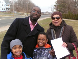 DTC Associate Member Duane Hinkson, Janice Edwards and Hinkson's children at 2014 MLK Park Ceremony  (DTC Photo)