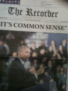 The front page of The Recorder, CCSU's student newspaper, after Obama visit