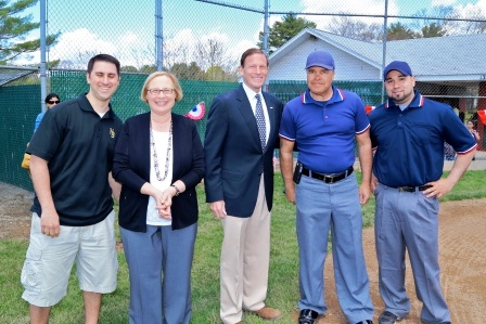 From left Alderman David DeFronzo, State Senator Terry Gerratana and Senator Blumenthal with Fagan League officials. Not in photo is Fagan League President Jim Wyskiewicz, a former city alderman.