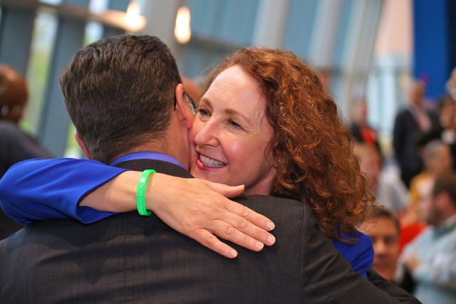 Cong Elizabeth Esty accepts congratulations on her re-nomination.