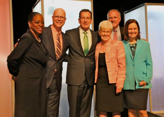 The State Democratic Slate: from left Treasurer Denise Nappier, Comptroller Kevin Lembo, Governor Malloy, Lt. Governor Wyman, Attorney General Jepsen and SOTS Denise Merrill. (F. Gerratana photo)