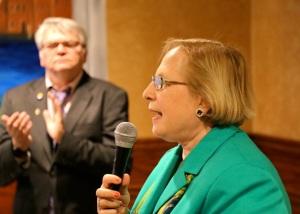 Terry Gerratana accepts endorsement of 6th District Senate Convention.
