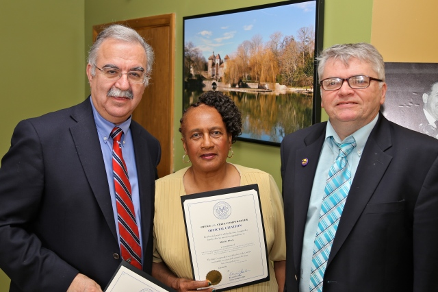 Dr. Frank Gerratana (left), Alderwoman Shirley Black and DTC Chair John McNamara at June 4th reception.