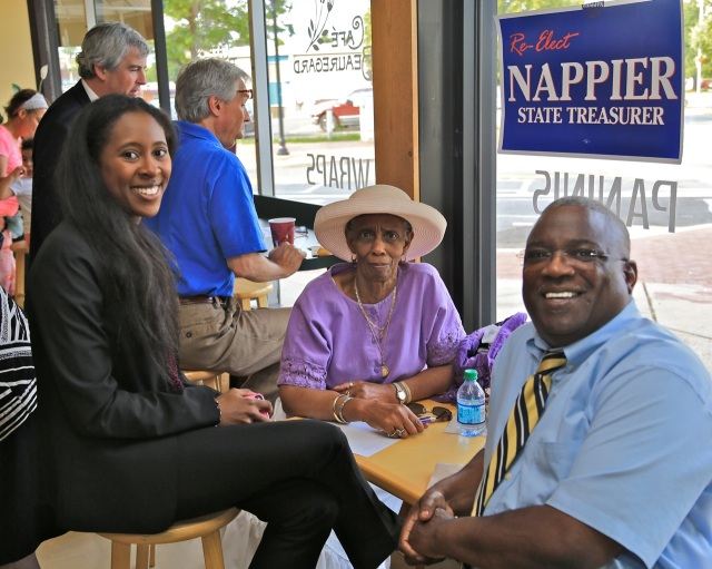 Attending New Britain reception for Denise Nappier were Gillan Bromfield of CT Democratic Party, Bertha Burkes and NAACP President Ron Davis.