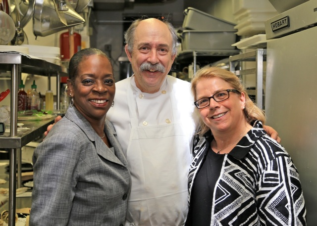 State Treasurer Denise Nappier tours Cafe Beauregard kitchen in Chef/Owner Rob Chiovoloni and Alice Bruno