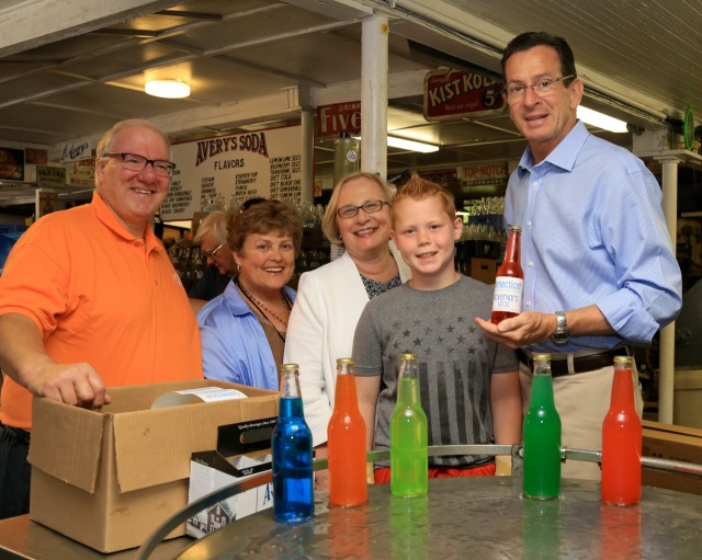 Governor Dan Malloy made a campaign stop at Avery's Soda in New Britain last week. From left Avery's owner Rob Metz, State Rep, Betty Boukus (22), State Senator Terry Gerratana and Governor Malloy. (F Gerratana photo)
