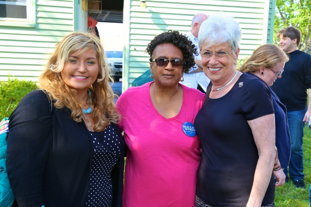 Alderwomen Eva Magnuszewski and Shirley Black with Lt. Governor Wyman at NB Dems' BBQ. (F. Gerratana photo)