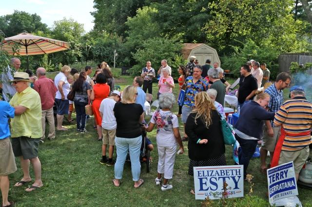 Democrats gather at Backyard BBQ at the home of Rep. Tercyak. (F Gerratana photo).