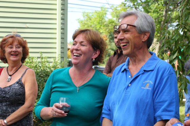 Pat Rehmer and Peter Tercyak at the Town Committee BBQ in Rep. Tercyak's backyard. (F. Gerratana photo)
