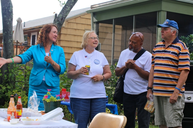 Cong. Elizabeth Esty, State Senator Terry Gerratana, DTC member  Brian Keith Albert and DTC Chair John McNamara (F. Gerratana photo)