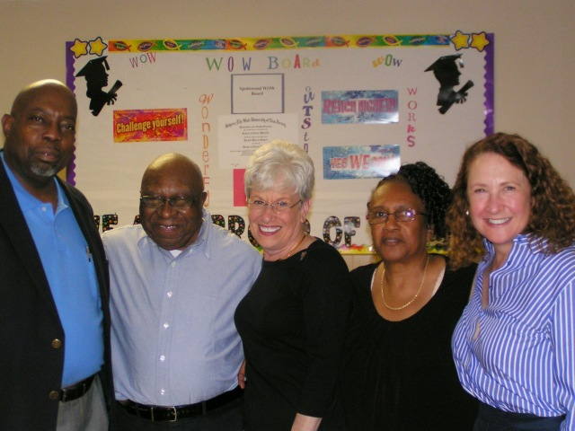 From left: Rev. John Morris, the pastor of Spottswood Church, Alton Brooks. Lt. Governor Wyman, Alderwoman Shirley Black and Cong Elizabeth Esty.