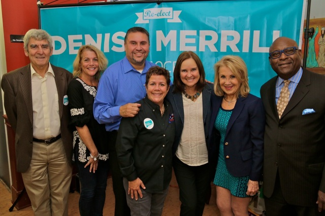 Secretary of the State Denise Merrill held a campaign event Monday at Criollisimo Restaurant on Arch Street with State Rep. Bobby Sanchez, State Rep. Peter Tercyak and Democratic supporters. (Gerratana photo)