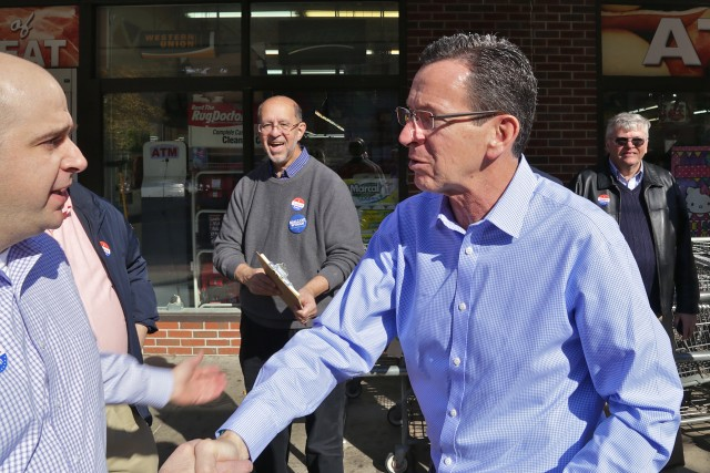 Governor Malloy outside the C-Town grocery store in  downtown New Britain on Election Day. (F. Gerratana photo)