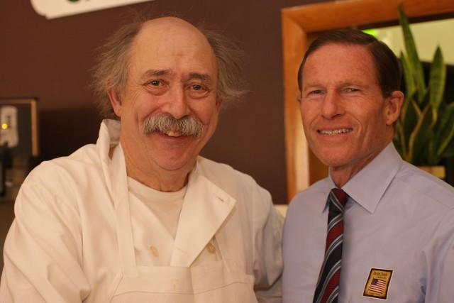 Senator Richard Blumenthal joined Governor Malloy on campaign trail in New Britain.  Blumenthal meets Cafe Beauregard's Rob   (F Gerratana photo)
