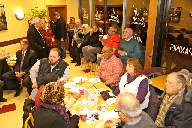December Town Committee meeting at Cafe Beauregard.  DTC members donated food items to the Spanish Speaking Center (F Gerratana photo)