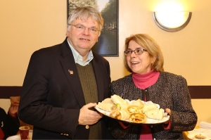 DTC Chair John McNamara at a New Britain Democratic Party event with Attorney Alice Bruno (Gerratana photo)