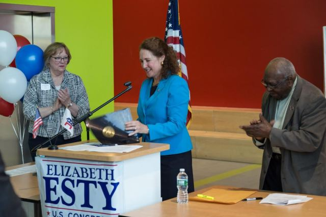 Congresswoman Esty accepts the Democratic nomination for a third, two-year term.