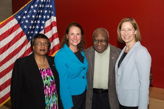 Democrats from the 5th Congressional District met Monday, May 9th in Waterbury to re-nominate Cong Elizabeth Esty to a new term. The convention was chaired by DTC Member Alton Brooks. From left Alderwoman Shirley Black, Cong. Esty, Brooks and DTC Associate Member Susan McKinley Perry (Gerratana photo)