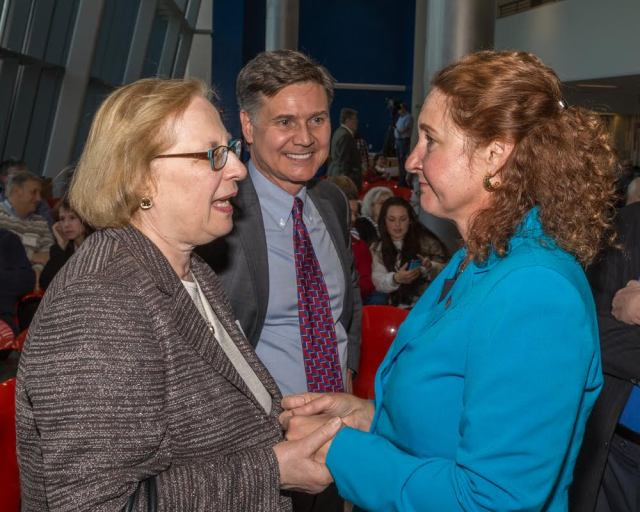 State Senator Terry Gerratana talks with Cong. Elizabeth Esty. Dan Esty  At center is former D eeP Commissioner