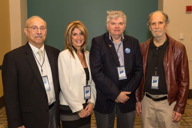 State delegates met on May 7th to select state central committee members from the senate district. From left Berlin DTC Chair Fred Jortner, State Central Committeewoman Joan Angelico-Stetson, State Central Committeeman John McNamara and New Britain DTC Chair Bill Shortell (F. Gerratana photo)
