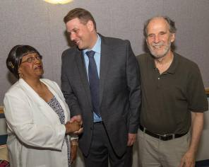 Mike Trueworthy is congratulated by Vice Chair Shirley Black and Town Chair Bill Shortell on his endorsement for Registrar of Voters
