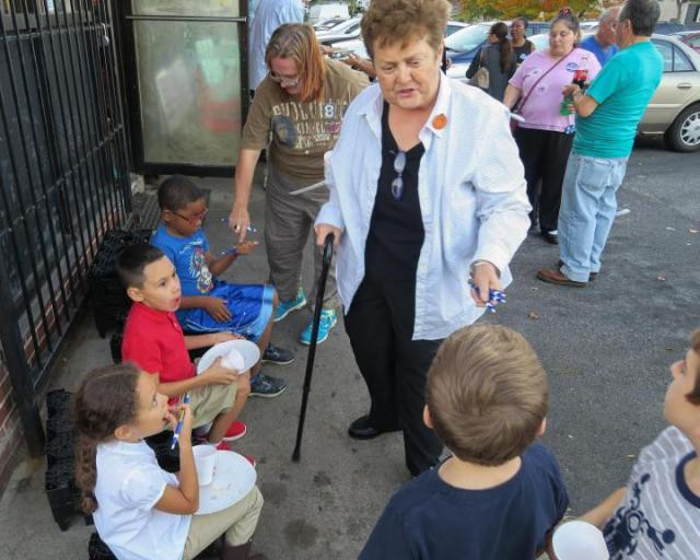 Betty Boukus at a voter registration event before the November 8th Election