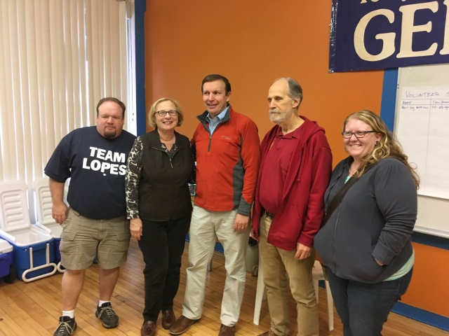 Chris Murphy visits Democrats' New Britain headquarters . From left State Rep. Rick Lopes, State Senator Terry Gerratana, DTC Chair Bill Shortell and DTC member Katie Breslin.