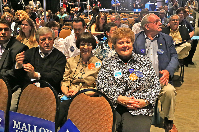 Rosemary Morante and Betty Boukus at Democratic State Convention (F. Gerratana photo)