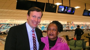 Chris Murphy and DTC Vice Chair Shirley Black at 1st Bowling for Democrats.